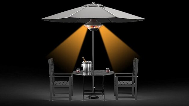 Zářiče jsou navržené tak, aby vrhaly světlo na židle kolem stolu, a tak zahřívaly sedící lidi.