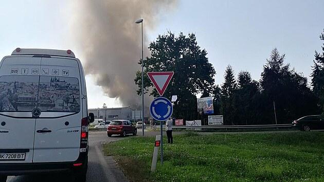 Požár haly v Čelákovicích. (16.9.2021)