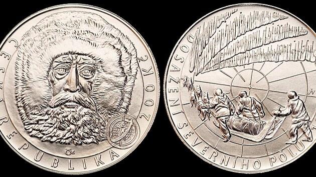 Češi mají zřejmě jasno v tom, kdo byl na severním pólu první. Tato stříbrná pamětní mince v hodnotě 200 korun byla vydána v roce 2009 při příležitosti stoletého vıročí dobytí severního pólu.
