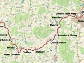 Mapa železniční trati mezi Jihlavou a Pelhřimovem
