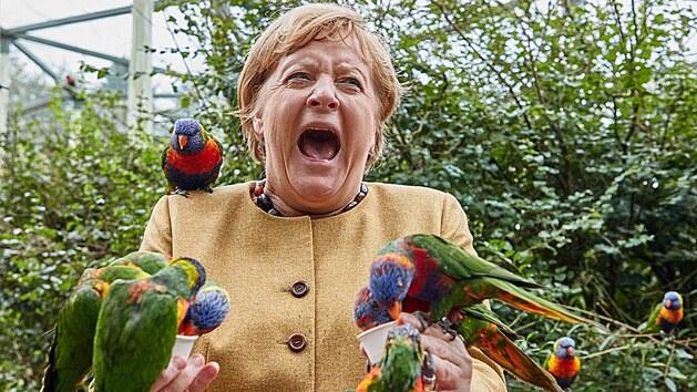 Angela Merkelová navštívila ptačí park v Marlow. (24. září 2021)