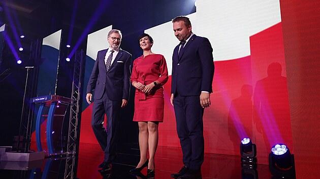 Akce ve Slovanském domě v Praze se kromě Fialy zúčastnili i předseda KDU-ČSL Marian Jurečka, předsedkyně TOP 09 Markéta Pekarová Adamová, krajští lídři a volební kandidáti koalice Spolu.  (20. září 2021)