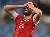 Fotbalovı útočník Ben Brereton Díaz po svém prvním gólu za reprezentaci Chile....