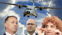 The cabinet of Mirek Topolánek (left) approved a proposal in April 2009 to trade five Czech L-159 fighters for a CASA transport plane, with another three bought above market price. Ex-Defense Minister Martin Barták's (center) claim the cost would not exc