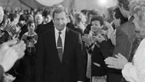 Václav Havel following his inauguration as president of Czechoslovakia in 1990