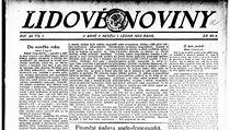 První část článku bratrů Čapkových na titulní straně vydání Lidových novin ze dne 1. 1. 1922.