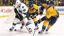 �to�n�k San Jose Sharks Tom� Hertl (48) si hl�d� kotou� p�ed hr��i Nashvillu Predators.