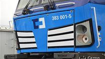 Lokomotiva Siemens Vectron v barvách spoelčnosti ČD Cargo.