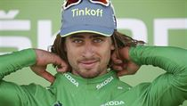 Peter Sagan v zeleném dresu na Tour de France.