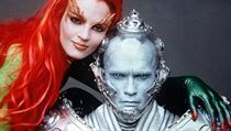 Snímek Batman a Robin. Poison Ivy (Uma Thurman) a Mr. Freeze (Arnold Schwarzenegger).