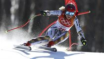 Czech Republic's Ester Ledecka competes in the women's super-G at the 2018...
