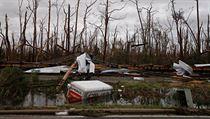 Po hurikánu Michael zůstaly v Panamě na Floridě pouze popadané stromy a zničená...
