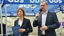 Budoucí primátorka Brna Markéta Vaňková (ODS) s šéfem strany Petrem Fialou.