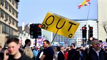 Demonstranti vyzvali politiky, aby respektovali vısledek referenda z roku 2016.