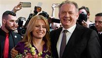 Slovenskı prezident Andrej Kiska a vítězka voleb Zuzana Čaputová