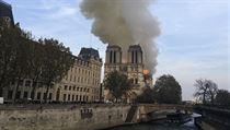 Katedrála Notre-Dame je v plamenech.