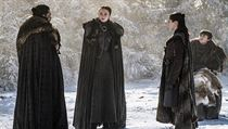 Stock Meeting in the Sacred Grove (from left): John Snow (Kit Harrington), Sansa Starc ...