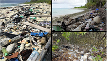Plastové znečištění na Kokosovıch ostrovech.