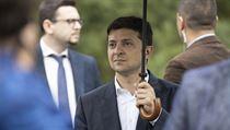 Ukrajinskı prezident Volodymyr Zelenskyj na návštěvě Pripjati.