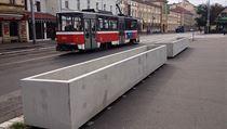Concrete pots in the Nádražní street in the Prague district of Smíchov.