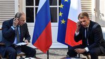 Emanuel Macron a Vladimir Putin.