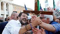 Matteo Salvini se svou stranou Liga Severu uspořádal protivládní demonstraci.