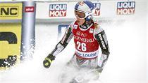 Ester Ledecká ve vítězném závodě v Lake Louise
