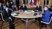 Summit normandské čtyřky v Paříži: Zleva ukrajinskı prezident Volodymyr...