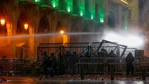 Podle agentury AP protestující házeli po policistech kameny, květináče, větve a...