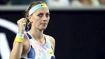 Petra Kvitová oslavuje vítěznı úder na Australian Open.