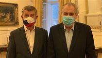 Premiér Andrej Babiš a prezident Miloš Zeman na jednání v Lánech.