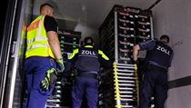 Německá policie na dálničním hraničním přechodu mezi Českou republikou a Saskem...