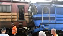 Na nádraží v Jihlavě se 11. srpna 2020 srazil nákladní vlak s lokomotivou kvůli...