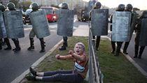 Protesty v Minsku proti nelegitimním volbám.