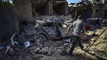 Zničené ulice v Náhorním Karabachu,