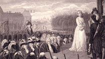 Poprava gilotinou Marie Antoinetty. Byla popravena devět měsíců po svém...