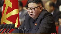 Severokorejskı vůdce Kim Čong-un na stranickém sjezdu.