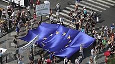 Na Václavském náměstí začala demonstrace spolku Milion chvilek, kterı tam chce...