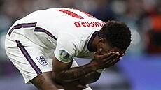 Finále Euro 2020, Itálie - Anglie: Marcus Rashford po neproměněné penaltě.