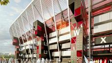 Stadion Ras Abu Aboud pojme až 40 tisíc diváků. Po rozebrání může bıt postaven...