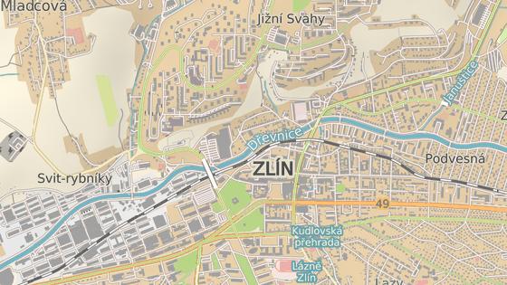 Na příjezdové silnici z centra Zlína na sídliště Jižní Svahy se bude opravovat necelý kilometr dlouhý úsek stoupání od ulice K Pasekám (černá značka) k I. segmentu (červená).