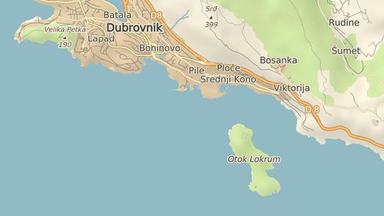 Ostrov Lokrum leží východně od Dubrovníku.