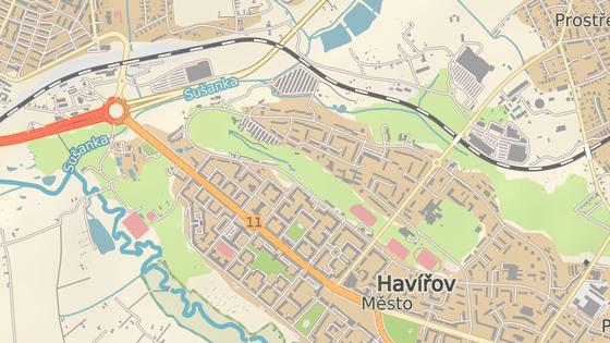 Rekonstrukce se aktuálně týká Hlavní třídy (modré značky) a Dělnické ulice (červená značka).