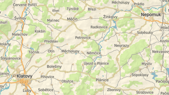 Místo havárie mezi Petrovicemi a Petrovičkami na Klatovsku
