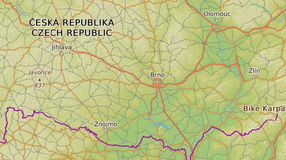 Zatáčky na silnici I/43 u Černé Hory (červeně), křižovatka u Slavkova (zeleně) a křižovatka ulic se silnicí I/38 ve Znojmě jsou tři příklady nejnebezpečnějších úseků na jižní Moravě.