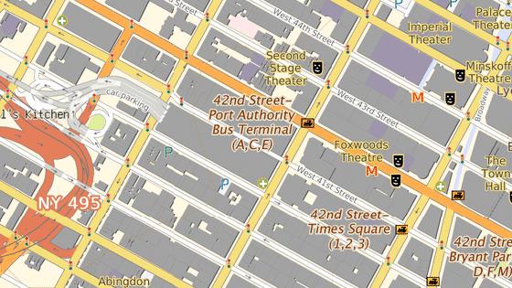 Terminál Port Authority se nachází nedaleko Times Square