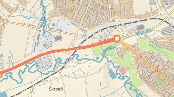Křižovatka leží před Havířovem, poblíž velkého okružního objezdu.