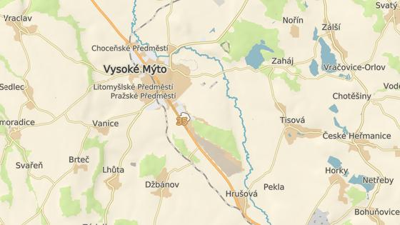 Místo tragické srážky na silnici I/35 u Vysokého Mýta.
