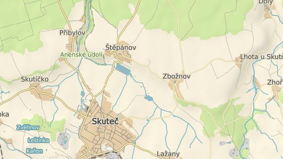 Místo nehody mezi Přibylovem a Skutčí.