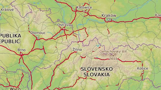 Žilina se nachází blízko hranic Polska i České republiky.